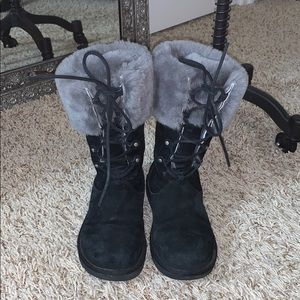 UGG Suede & Fur Tie Up Boots